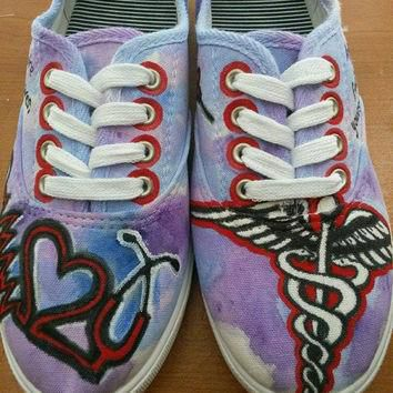 Custom Made Nursing RN Painted Shoes - Toms Converse Vans Keds - Nurse Painted Shoes
