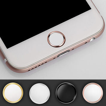 4pcs/lot Touch ID Button Aluminum Home Button Sticker For iphone 7 7Plus 6 6S Plus 5 5S SE 5 With Finger Identification Function