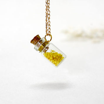 A Bottle of Sunshine, Glass Blottle Necklace, Natural Dried Flower, Small Bottle Necklace, Plant Pendant, Yellow