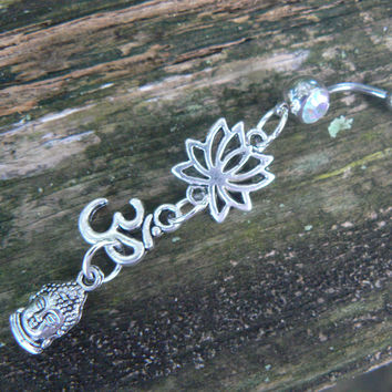 yoga belly ring om buddah  lotus flowermeditation in zen yoga Indie new age boho gypsy hippie belly dancer beach and hipster style