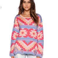 Geometric Print Knitted Sweater