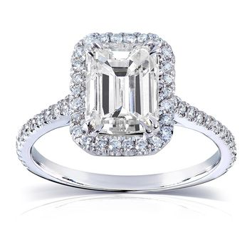Emerald Moissanite Engagement Ring with Diamond 2 CTW 14k White Gold