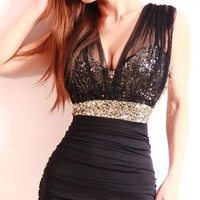 Sexy Slim Clubwear Bling Sequins voile backless Mini dress Bodycon Party elegant
