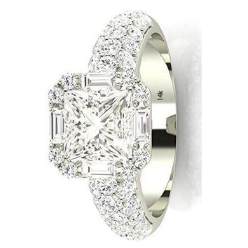 .1.55 Ctw 14K White Gold GIA Certified Princess Cut Designer Popular Halo Style Baguette and Pave Set Round Diamond Engagement Ring, 0.75 Ct D-E VS1-VS2 Center