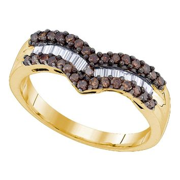 Yellow-tone Sterling Silver Womens Round Cognac-brown Color Enhanced Diamond Chevron Band Ring 1/2 Cttw