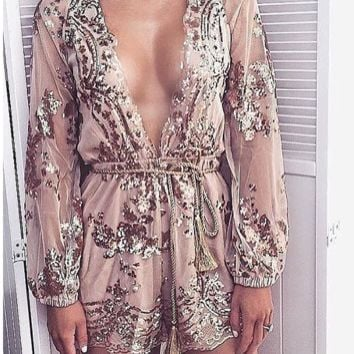 Champagne gold sequined flowers mesh jumpsuit with gold waist rope romper lowest price