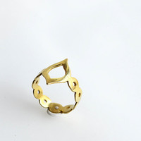 Arabesque gold plated sterling silver ring - gold ornate ring - moroccan style - under 40