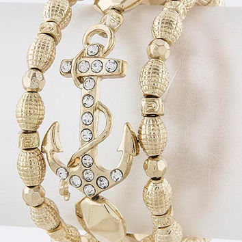 Crystal Anchor Bracelet Set