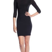 Tbags Los Angeles 3/4 Sleeve Bodycon Dress in Black