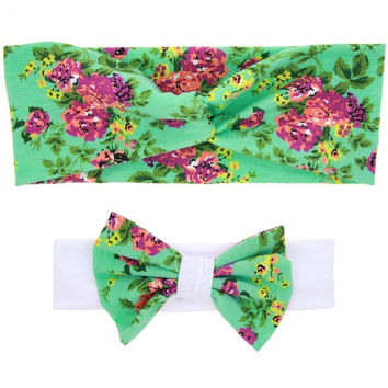 2Pcs Rabbit Ears Elastic Hair Bands Kids Adults Sweety Flower Bowknot Headband Photo Hair Accesories Bandeau Cheveux Femme#121 SM6