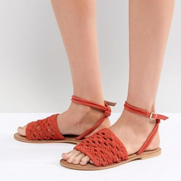 ASOS DESIGN Faithful Woven Leather Sandals at asos.com