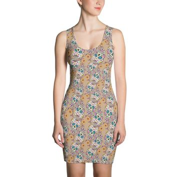Sugar Skull Day of The Dead TAN Dress
