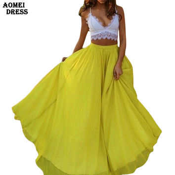 2016 Women Boho Maxi Long Skirts Solid Color Yellow Pleated Floor-Length Chiffon Summer Beachwear Ladies Elegant Jupe Skirt
