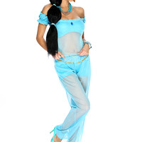 Sexy Turquoise Princess J 4. Piece Costume