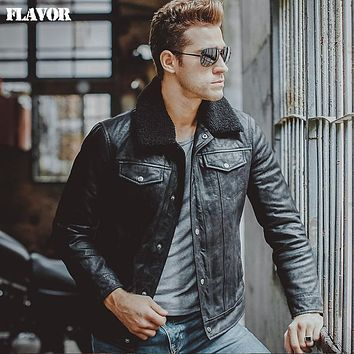Men's fur collar real leather jacket Genuine Leather warm jacket motorcycle coat