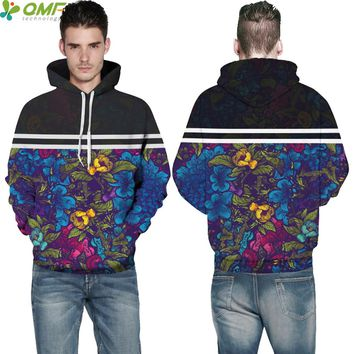Classic Flower Male Sweatshirts Vintage Floral Skateboarding Hoodies Tide Men Hooded Tops Fitness Outdoor Pullovers Tracksuits