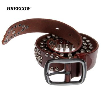 Novelty Personality Bullet Belts Genuine Leather Men