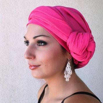 Pink Cotton Turban Head wrap, Turbans for cancer, head scarf, hats for cancer patients, alopecia, chemo hair loss.