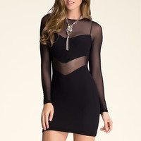bebe Womens Maria Mesh Inset Dress Black