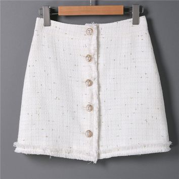 Women Casual Tweed Mini Skirt Female Elegant High Waist White Woolen Wrap Skirt Autumn Fashion Female Party Short Skirts Talever