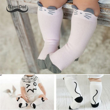 Winter Cotton Animals baby socks Printed Knee High Baby Sock Boy Girl Children Socks Anti Slip Cartoon Cat Leg Warmers