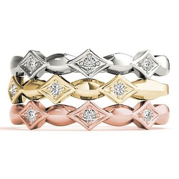 Stackables 1/2 Eternity Tri-Tone Gold Simple 3-Band Set Selectables