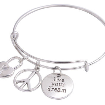 Wire Bangle Bracelet Peace Charm