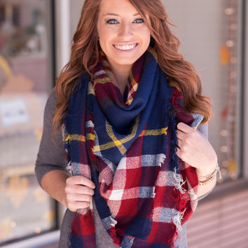 Blue and Red Plaid Blanket Scarf