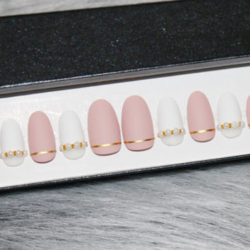 Matte white and nude pink pearl gel nails • press on nails • fake nails • false nails •
