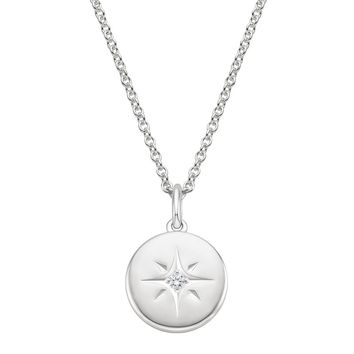 Silver North Star Diamond Pendant
