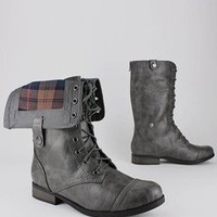 plaid cuff combat boot