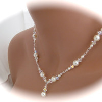 Wedding jewelry Ivory Crystal Pearl by Clairesparklesbridal