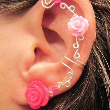 "Cartilage Ear Cuff  No Piercing Wedding Prom Quinceanera ""Roses are Pink"""