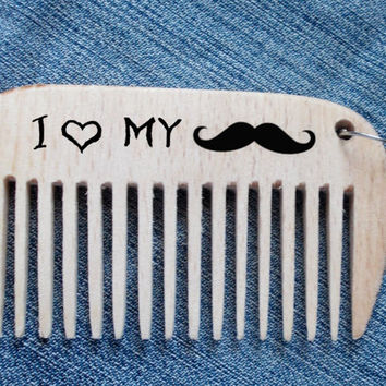 Beard Comb, i love my mustache, small wood comb, Keychain comb, wooden comb, engraved comb, woodburning, Dad Gift, boyfriend gift, for man
