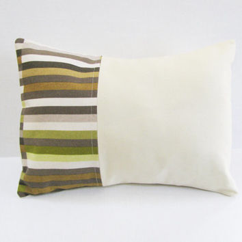 Spring Summer Pillow  Solid Stripes Fabric  Green Brown Natural  Contemporary Design  Home Decor  Accent Pillow  Decorative Pillows