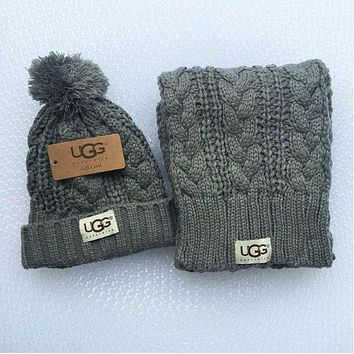 ONETOW UGG Winter men and women knit hats & scarves two sets F