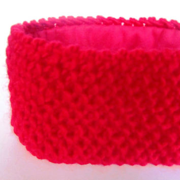 Red fleece lined knitted headband ski accessory for women 100% wool bright red headband ear-warmer Irish knitwear warm chunky knit headband