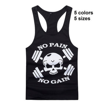 New Bodybuilding Golds Gym Singlet Stringer Skull NO PAIN NO GAIN Fitness Muscle Men Tight Workout Tank Vest