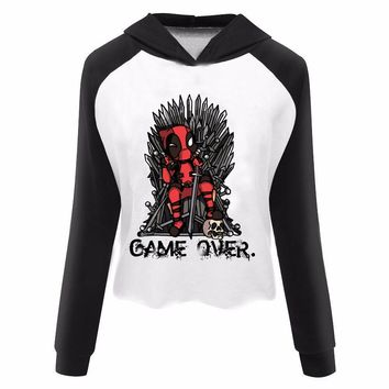 Deadpool vs Game of Thrones Logo Print Women's Harajuku Crop Top Hoodie Custom Print Pullovers Sweatshirt Cropped Hoodie