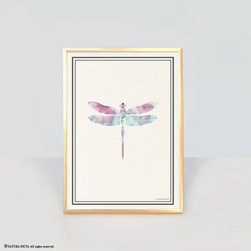 Dragonfly insect art print-dragonfly insect wall art-botanical wall art-botanical print-modern print-watercolor print-animal print-NPAG55