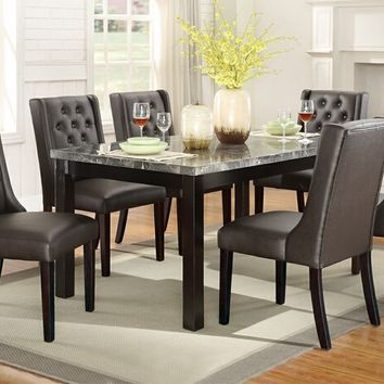 7 pc marleen collection dark brown finish wood marble top dining table set with faux leather padded seats