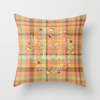 Give Thanks - Autumn Plaid Throw Pillow by Lisa Argyropoulos | Society6