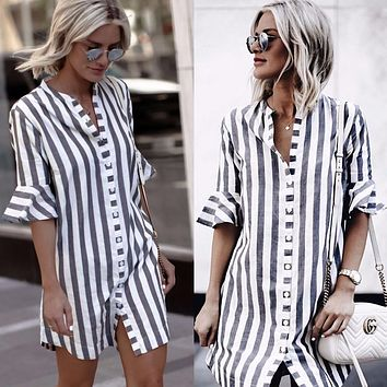 STYLEDOME striped half ruffle sleeve stand collar women long button shirt women tops