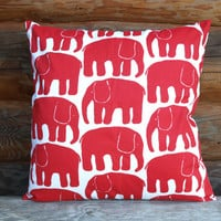 Decorative Pillow cover white bright red Elephants Decorative Cotton pillow Scandinavian Design Throw pillows Floor Cushions Accent Pillows