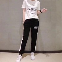 """""""Givenchy"""" Women Casual Fashion Five-pointed Star Letter Print Short Sleeve Multicolor Trousers Set Two-Piece Sportswear"""