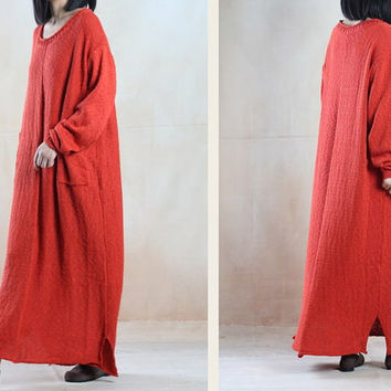 Women sweater dress cotton linen dress maxi dress winter dress Casual dress/Loose Fitting dress/Long Sleeve dress plus size dress
