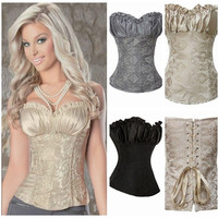 fashion Women sexy lingerie Underwear corsets Lace Shapewear Gothic Overbust waistband Bustier Body Shaper S-6XL = 1958388868