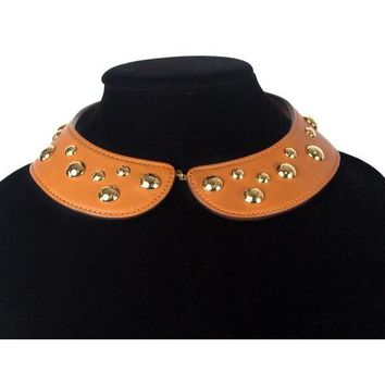 Louis Vuitton Leather Studded Collar Necklace Tan Brown