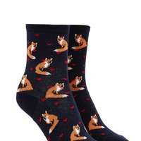 Fox Heart Graphic Crew Socks