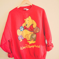 80s Winnie The Pooh Walt Disney World Red Sweatshirt Oversized Comfy Size Large Slouchy Oversize Cozy Top Disneyland